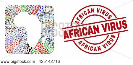 Vector Collage Africa Map Of Different Pictograms And African Virus Badge. Collage Africa Map Design