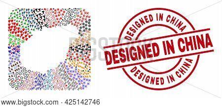 Vector Mosaic Hainan Map Of Different Pictograms And Designed In China Badge. Mosaic Hainan Map Crea