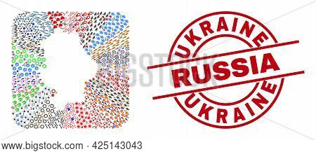Vector Collage Donetsk Republic Map Of Different Icons And Ukraine Russia Seal Stamp. Collage Donets