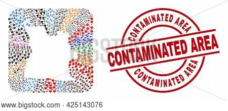 Vector Mosaic Angola Map Of Different Symbols And Contaminated Area Seal Stamp. Mosaic Angola Map Cr