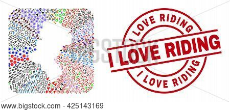 Vector Collage Silesian Voivodeship Map Of Different Pictograms And I Love Riding Badge. Collage Sil