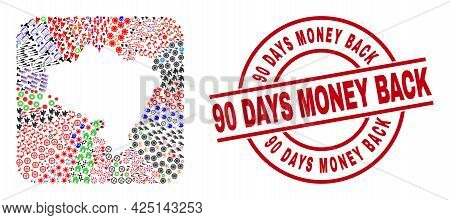 Vector Mosaic Lower Silesia Province Map Of Different Symbols And 90 Days Money Back Seal Stamp. Mos