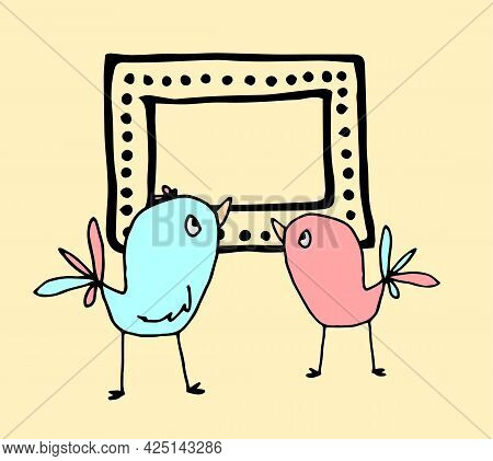 Vector Drawing Of Two Cute Birds With An Empty Frame For Your Text. Cartoon Birds In Blue And Pink P