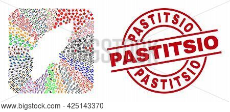 Vector Collage Rhodes Island Map Of Different Icons And Pastitsio Seal Stamp. Collage Rhodes Island