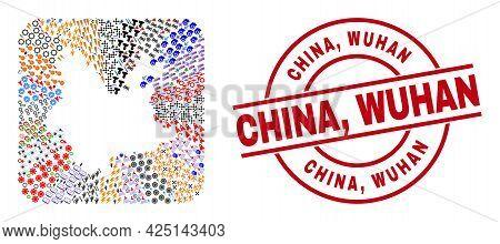 Vector Mosaic Yunnan Province Map Of Different Icons And China, Wuhan Badge. Mosaic Yunnan Province