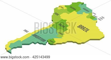 Isometric Political Map Of South America. Colorful Land With Country Name Labels On White Background