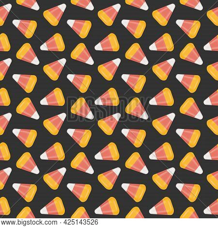Candy Corn Seamless Pattern. Halloween Texture With Traditional American Fall Sweets. Print For Scra