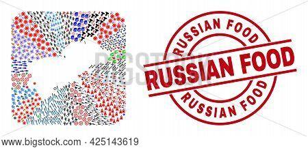 Vector Mosaic Shikotan Island Map Of Different Symbols And Russian Food Stamp. Mosaic Shikotan Islan