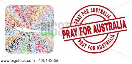Vector Collage Hvar Island Map Of Different Icons And Pray For Australia Badge. Collage Hvar Island