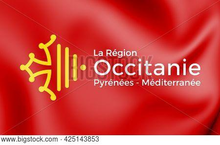 3d Flag Of Occitanie, France. 3d Illustration.