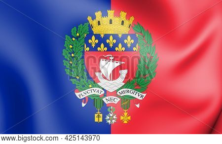3d Flag Of Paris, France. 3d Illustration.