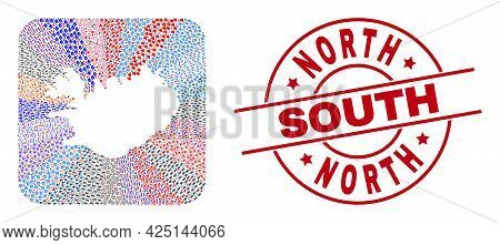 Vector Collage Iceland Map Of Different Pictograms And North South Seal Stamp. Mosaic Iceland Map De