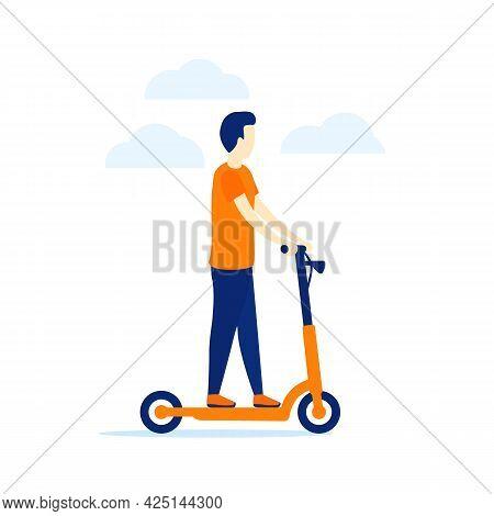 Man On A Kick Scooter, Vector Art