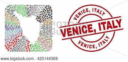 Vector Mosaic Tuscany Region Map Of Different Icons And Venice, Italy Seal Stamp. Mosaic Tuscany Reg