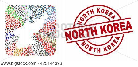 Vector Mosaic North Korea Map Of Different Icons And North Korea Stamp. Mosaic North Korea Map Creat