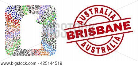 Vector Collage Australian Northern Territory Map Of Different Icons And Australia Brisbane Stamp. Co