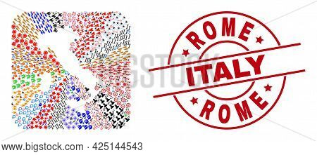 Vector Mosaic Italy Map Of Different Symbols And Rome Italy Stamp. Mosaic Italy Map Constructed As H
