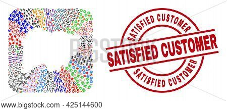 Vector Collage Salamanca Province Map Of Different Pictograms And Satisfied Customer Seal. Collage S
