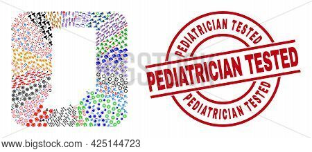 Vector Mosaic Indiana State Map Of Different Symbols And Pediatrician Tested Badge. Mosaic Indiana S