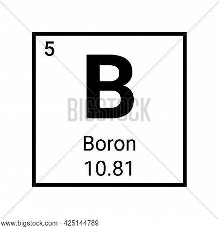 Boron Periodic Element Icon. Chemical Boron Oxide Chemical Element Symbol