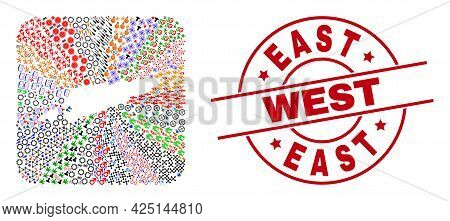 Vector Collage East Timor Map Of Different Icons And East West Seal. Collage East Timor Map Construc