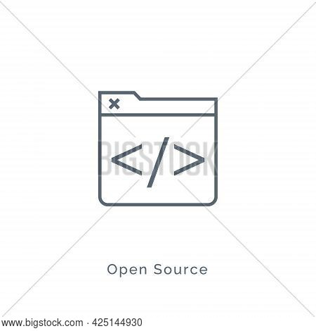 Open Source Code Icon. Software Vector Open Source Line Flat Background