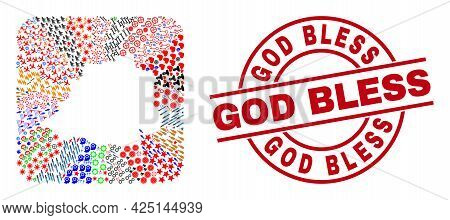 Vector Mosaic Vatican Map Of Different Symbols And God Bless Seal. Mosaic Vatican Map Constructed As
