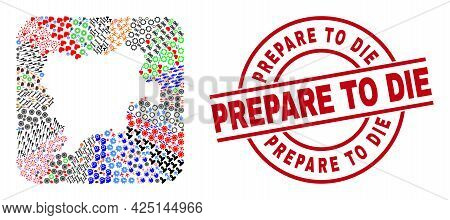 Vector Collage Albacete Province Map Of Different Pictograms And Prepare To Die Badge. Collage Albac