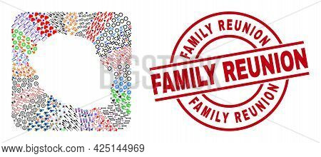 Vector Collage Reunion Island Map Of Different Pictograms And Family Reunion Stamp. Collage Reunion