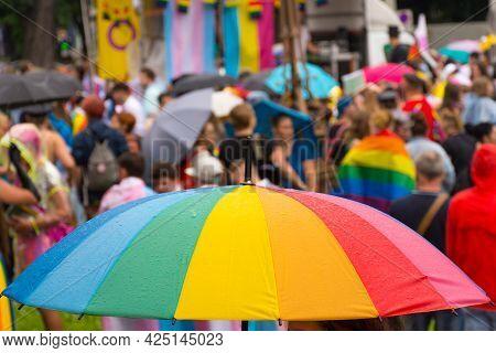Rainbow Umbrella At The Annual Gay Parade In Graz, Austria