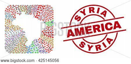 Vector Mosaic Brazil Map Of Different Symbols And Syria America Stamp. Mosaic Brazil Map Created As
