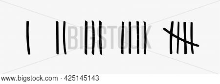 Tally Marks Prison Jail Vector Wall Count. Slash Hash Brush Line Number Tally Mark Prison Wall
