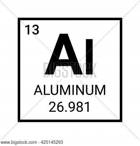Aluminium Periodic Element Chemical Symbol. Aluminum Atom Element Vector Icon