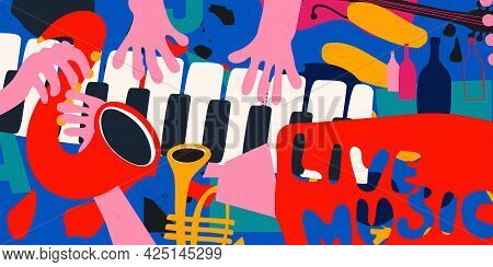 Live Music Promotional Poster With Musical Instruments Colorful Vector Illustration. Piano Keys, Tru