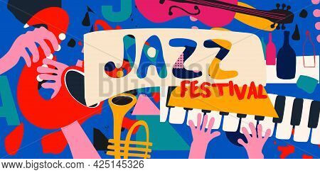 Jazz Music Promotional Poster With Musical Instruments Colorful Vector Illustration. Piano Keys, Tru