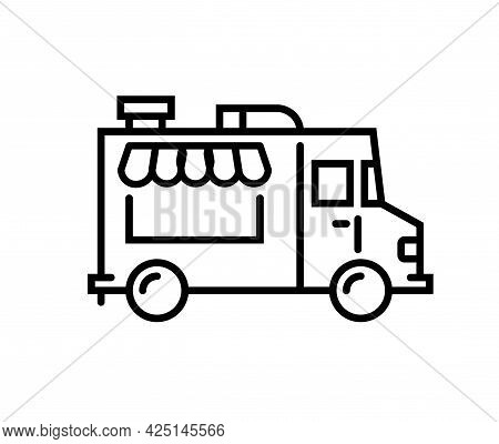 Food Truck Logo Line Icon. Vector Foodtruck Kitchen Street Van Design Icon