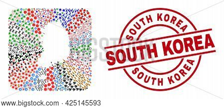 Vector Mosaic South Korea Map Of Different Pictograms And South Korea Seal. Mosaic South Korea Map C