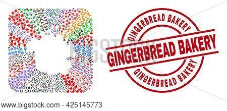 Vector Mosaic Micronesia Island Map Of Different Pictograms And Gingerbread Bakery Seal. Collage Mic