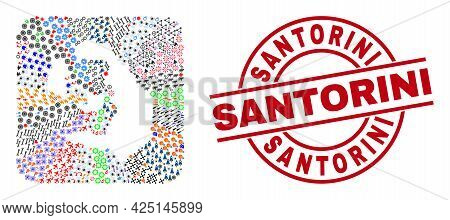 Vector Collage Santorini Island Map Of Different Pictograms And Santorini Seal Stamp. Collage Santor