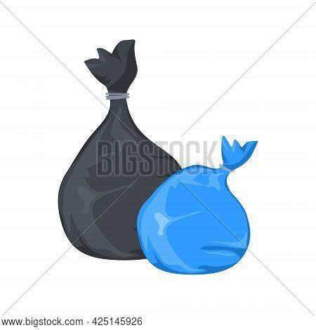 Rubbish Garbage Bag Vector Plastic Icon. Trash Rubbish Bin Cartoon Illustration Design