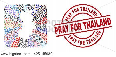 Vector Collage Ko Tao Map Of Different Icons And Pray For Thailand Seal. Collage Ko Tao Map Construc