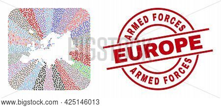 Vector Mosaic Europe Map Of Different Icons And Armed Forces Europe Seal Stamp. Mosaic Europe Map Cr
