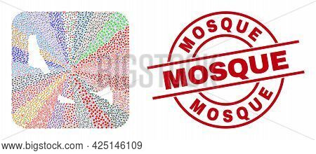 Vector Mosaic Comoros Islands Map Of Different Icons And Mosque Seal Stamp. Mosaic Comoros Islands M