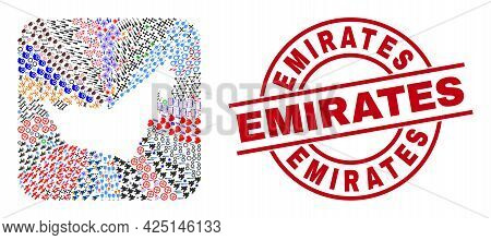 Vector Collage United Arab Emirates Map Of Different Pictograms And Emirates Badge. Collage United A