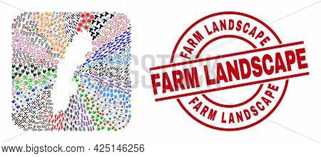 Vector Mosaic Sweden Map Of Different Pictograms And Farm Landscape Seal Stamp. Mosaic Sweden Map De