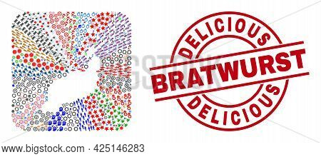 Vector Collage Lanzarote Islands Map Of Different Pictograms And Delicious Bratwurst Seal. Collage L
