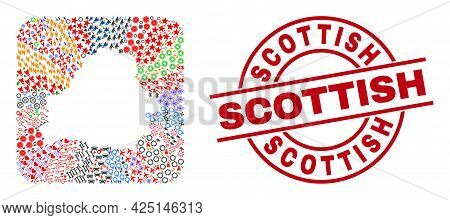 Vector Collage Belarus Map Of Different Symbols And Scottish Seal Stamp. Mosaic Belarus Map Created