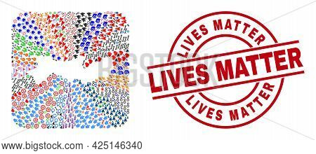 Vector Collage Pernambuco State Map Of Different Pictograms And Lives Matter Badge. Collage Pernambu