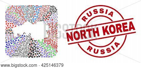 Vector Collage North Brabant Province Map Of Different Icons And Russia North Korea Seal. Collage No