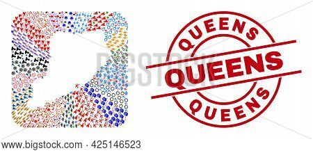 Vector Collage Staten Island Map Of Different Symbols And Queens Seal Stamp. Collage Staten Island M
